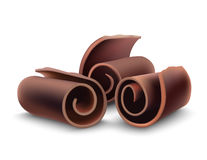 Chocolate shaving curl. Dark chocolate shaving curl for cake decoration vector illustration Stock Images