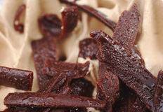 Chocolate Shavings. Closeup of chocolate shavings on chocolate cake (Selective Focus Royalty Free Stock Photos