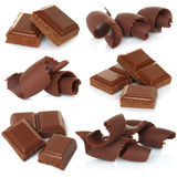 Chocolate shavings with blocks set Stock Images