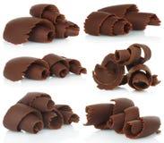 Chocolate shavings set on white background Royalty Free Stock Photo