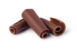 Chocolate shavings. On white background royalty free stock images