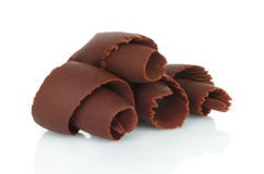Chocolate shavings on white background Royalty Free Stock Images