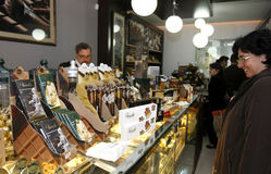 Chocolate shop stock photo