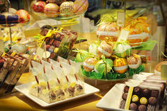 Chocolate shop. Assorted chocolates sweets in a shop Stock Photo