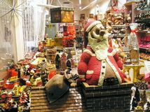 Chocolate Shop in Bruges, Belgium, before Christmas , big chocolat Father Christmas royalty free stock photo