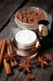 Chocolate skin treatment. Cosmetic jar with lotion, cocoa, anise, cinnamon sticks. Stock Photos