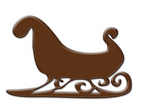 Chocolate sleigh shape frame isolated on white Stock Images