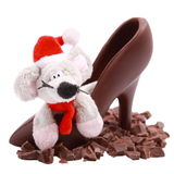 Chocolate slices, mouse in shoe Stock Photo