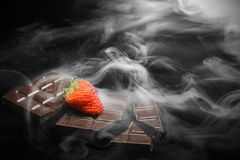 Chocolate in smoke stock photo