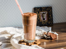Chocolate smoothie with banana and peanut butter Royalty Free Stock Images