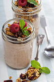Chocolate smoothie with granola for breakfast Stock Images