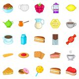 Chocolate snack icons set, cartoon style. Chocolate snack icons set. Cartoon set of 25 chocolate snack vector icons for web isolated on white background Stock Image