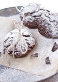 Chocolate snow cap cookies for Christmas Royalty Free Stock Images