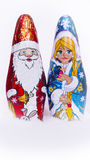 Chocolate Snow Maiden and Santa Claus Royalty Free Stock Photo