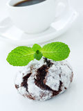 Chocolate snowcap. Cookie with mint. Shallow dof Royalty Free Stock Photography
