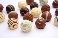 Chocolate. Some fine chocolate praline in different colours Royalty Free Stock Image