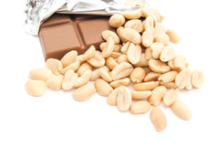 Chocolate and some peanuts Royalty Free Stock Photos
