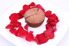 Chocolate soufflé with romantic decoration Royalty Free Stock Photography