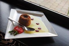 Chocolate Souffle. French cuisine Chocolate Souffle dessert Stock Photo