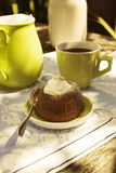 Chocolate souffle with confectioner's sugar stock photo