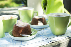 Chocolate souffle with confectioner's sugar stock images
