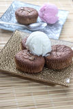Chocolate souffle and ice cream Stock Photos