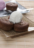 Chocolate souffle and ice cream on table Royalty Free Stock Photography