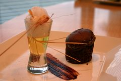 Chocolate souffle with lemongrass ice cream Stock Photo