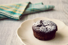 Chocolate Souffle with powdered sugar. stock image
