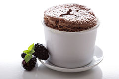 Chocolate souffle with thick glaze Royalty Free Stock Photo