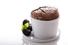 Chocolate souffle with thick glaze Stock Image
