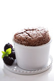 Chocolate souffle with thick glaze Royalty Free Stock Images