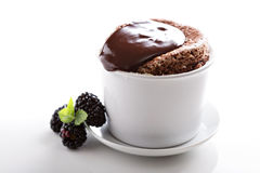 Chocolate souffle with thick glaze Royalty Free Stock Image