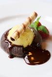 Chocolate Souffle With Vanilla Ice Cream Royalty Free Stock Photography