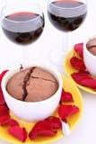 Chocolate souffles and wine stock photo