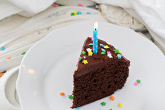 Chocolate sour cream cake with frosting Stock Images