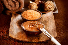 Chocolate Spa Masker Stock Foto