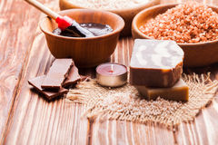 Chocolate spa set Stock Image