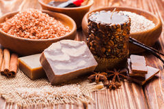 Chocolate spa set Royalty Free Stock Photography