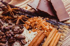 Chocolate spa and spices Royalty Free Stock Photo