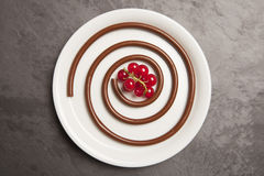 Chocolate spaghetti with red berries. Dessert, chocolate spaghetti with red berries on a white plate Royalty Free Stock Images