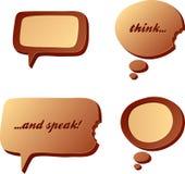 Chocolate speech and idea bubbles Royalty Free Stock Photos
