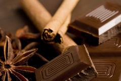 Chocolate and spices Royalty Free Stock Photography