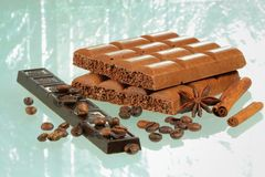 Chocolate and spices Stock Images