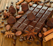 Chocolate and spices Royalty Free Stock Images