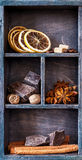 Chocolate, spices and coffee beans. Wooden printer tray Royalty Free Stock Image