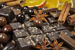 Chocolate and spices Stock Photography