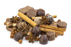 Chocolate, spices and nuts Stock Image