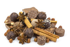 Chocolate, spices and nuts Royalty Free Stock Photo