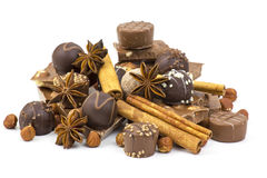 Chocolate, spices and nuts Stock Photos